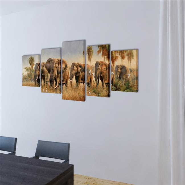 "Canvas Wall Print Set Elephants 79"" x 39"""