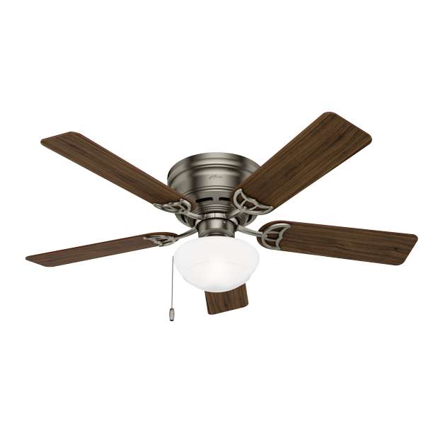 Hunter 52 Low Profile Antique Pewter Ceiling Fan With Light Kit And Pull Chain Walmart Com Walmart Com