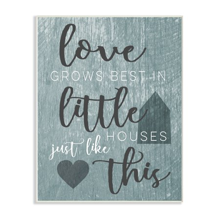 The Stupell Home Decor Collection Love Grows Best In Little Houses Grey Illustration Wall Plaque Art, 10 x 0.5 x 15