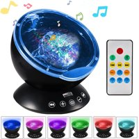 Music Ocean Wave Relaxing Projector LED Night Light Remote Lamp Kids Gift Black