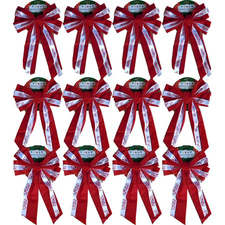 Christmas Holiday Printed Velvet Bows, Joy, HoHoHo, Leaves- 3,6 Or 12 Packs Available 10x17 - Floral Printed Bow