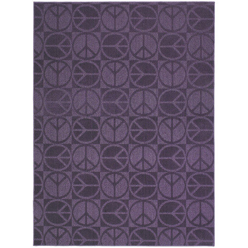 Garland Rug Purple Large Peace Indoor/Outdoor Area Rug