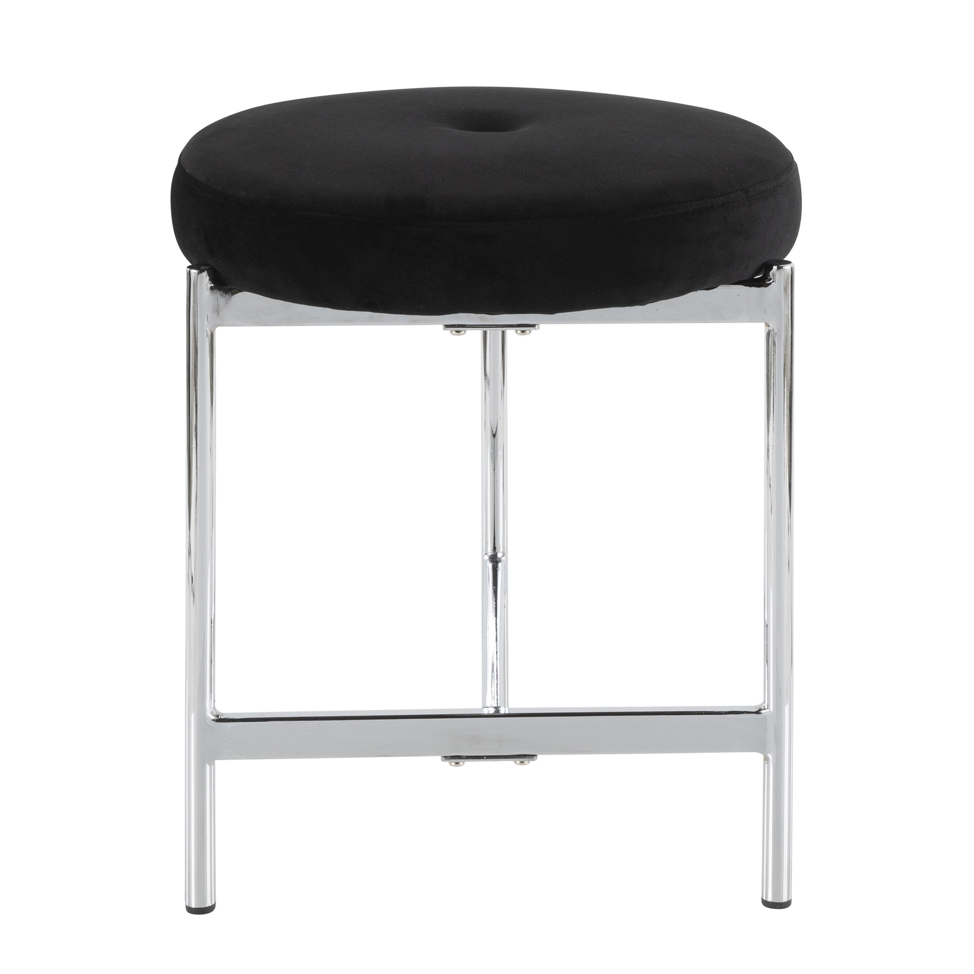 Marvelous Chloe Contemporary Vanity Stool In Chrome And Blue Velvet By Lumisource Caraccident5 Cool Chair Designs And Ideas Caraccident5Info