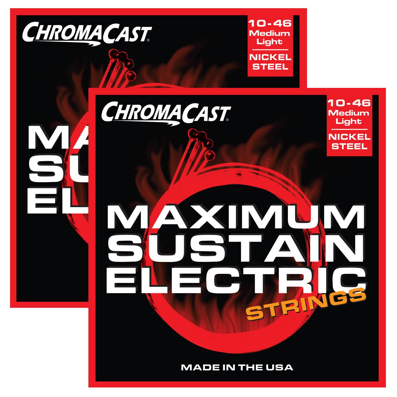 ChromaCast Maximum Sustain Medium-Light Gauge(.010-.046) Electric Guitar Strings, 2 Pack by ChromaCast