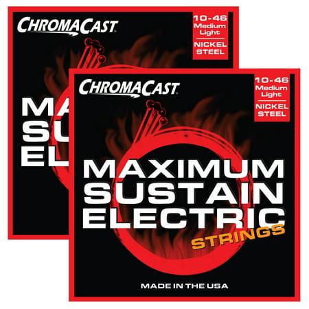chromacast maximum sustain medium light gauge 010 046 electric guitar strings 2 pack. Black Bedroom Furniture Sets. Home Design Ideas