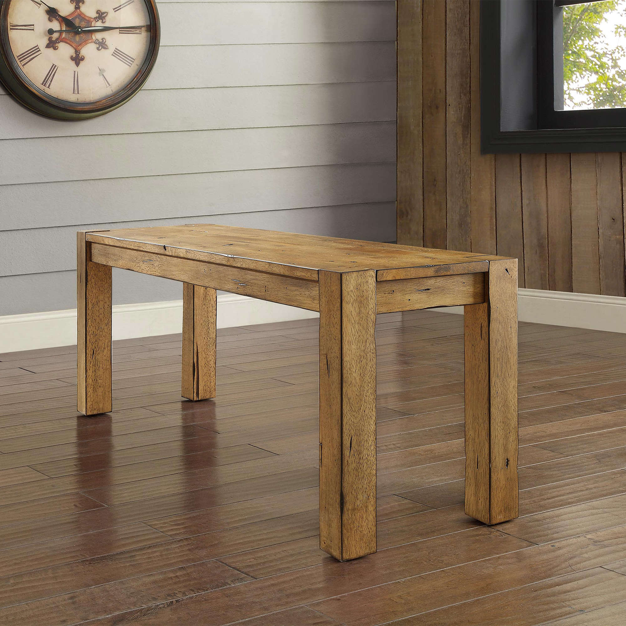 Better Homes & Gardens Bryant Solid Wood Dining Bench, Rustic Brown Finish
