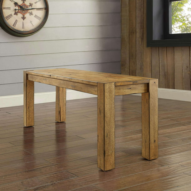 Better Homes & Gardens Bryant Solid Wood Dining Bench, Rustic Brown - Walmart.com - Walmart.com