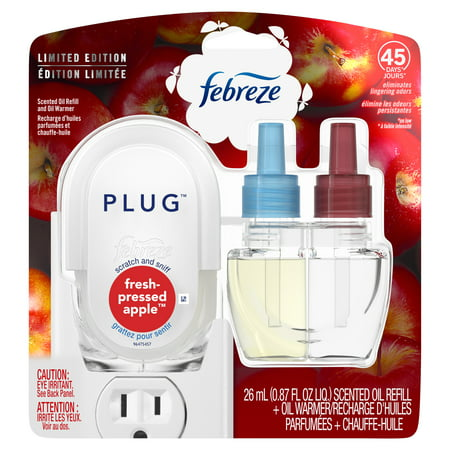 Febreze Plug Air Freshener Scented Oil Refill and Oil Warmer, Fresh-Pressed Apple, 1 Ct