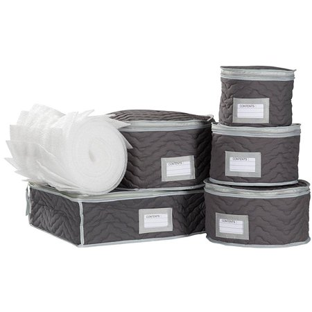 China Tea Cups and Plates Storage Set - Deluxe Quilted