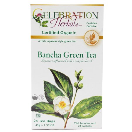 Celebration Herbals Organic Green Tea Bancha 24 Tea (Organic Herbal Bath Bags)