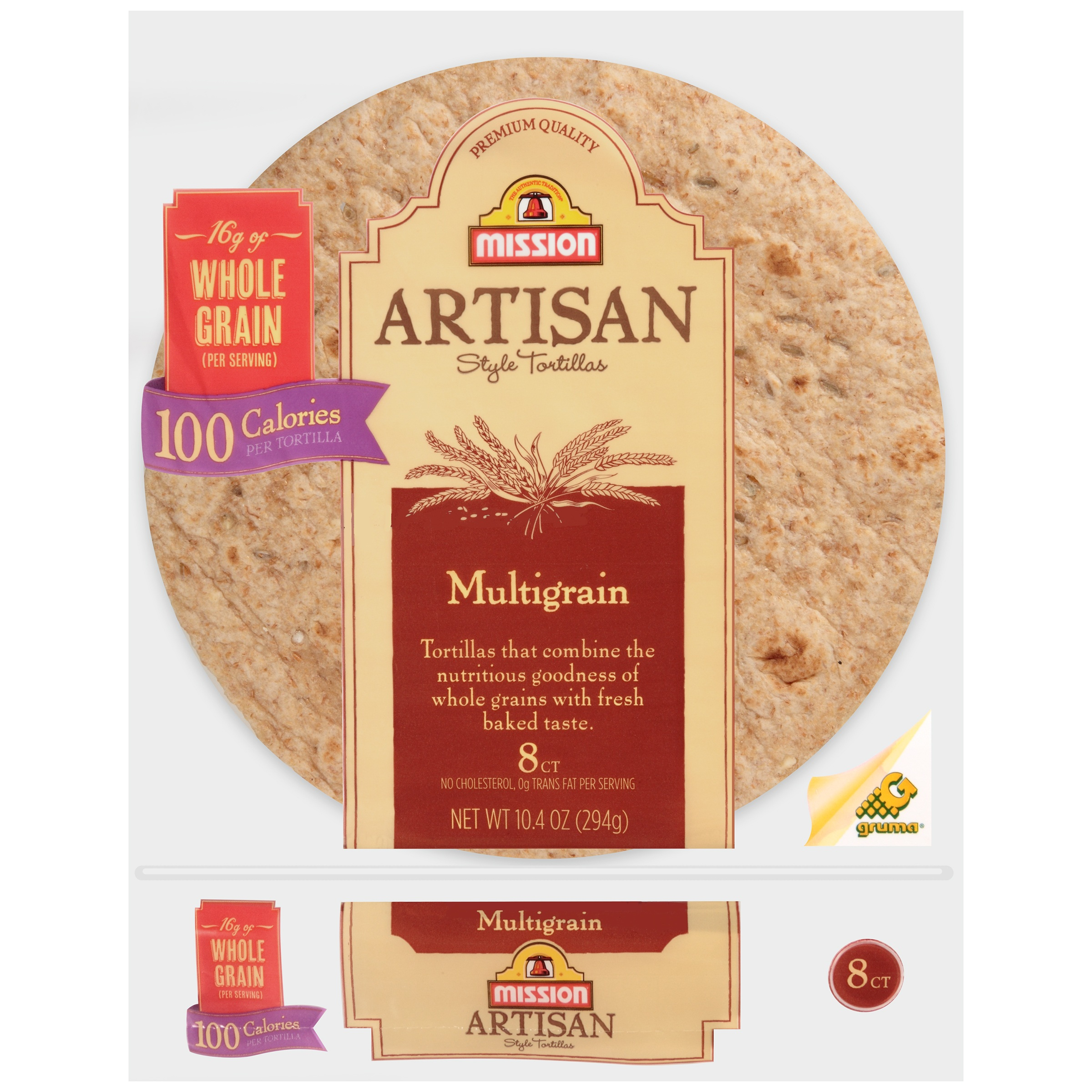 Mission® Artisan Style Multigrain Tortillas 10.4 oz. Bag