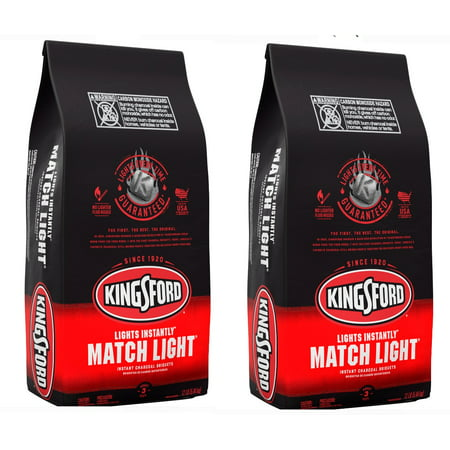 (2 pack) Kingsford Match Light Instant Charcoal Briquettes, BBQ Charcoal for Grilling - 12 Pounds - Lighting Charcoal Briquettes