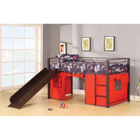 Acme Furniture Willie Twin Loft Bed With Slide And Tent