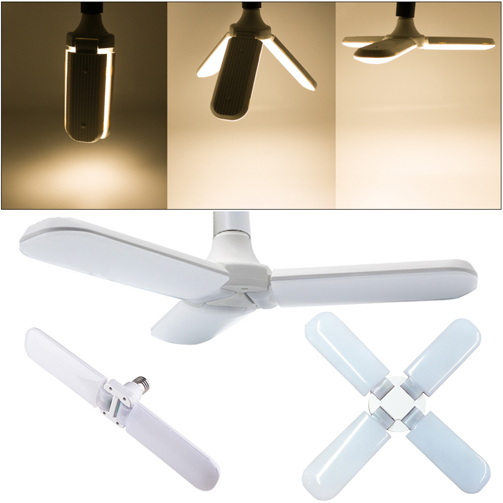 Meaddhome Super Bright Foldable Fan Blade Led Bulb Angle Adjustable Ceiling Lamp Home Energy