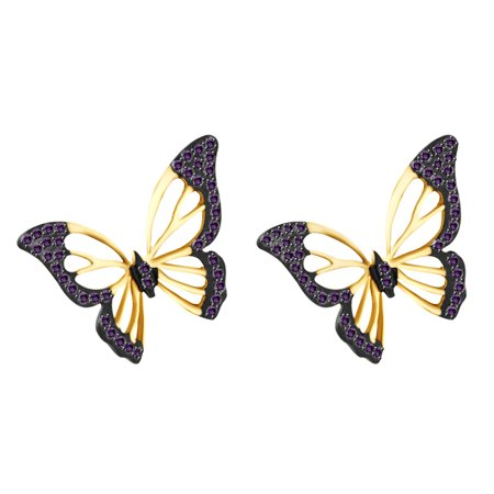 Round Shape Amethyst Gemstone (Round Shape Simulated Amethyst Butterfly Stud Earrings In 14k Yellow Gold Over Sterling Silver)