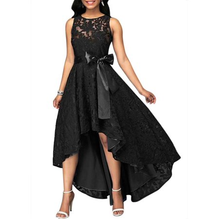 JustVH Women's Formal Floral Lace Sleeveless High-low Evening Party Maxi