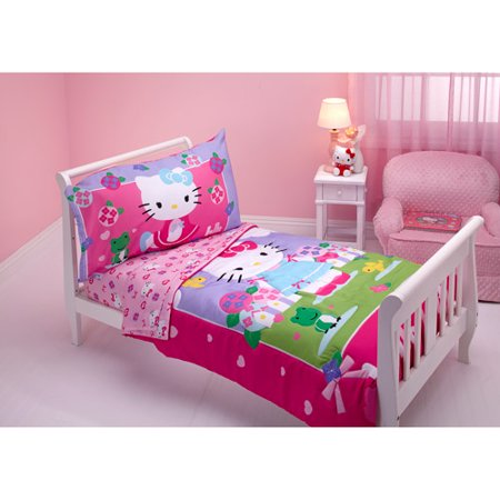 Discontinued Hello Kitty Springtime Friends 4 Piece Toddler Bedding Set