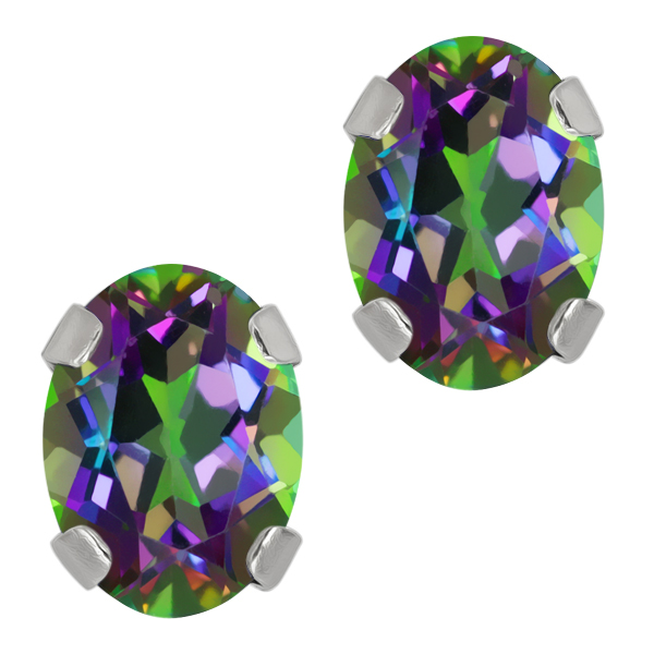 1.90 Ct Oval Green Mystic Topaz 14K White Gold 4-prong Stud Earrings 7x5mm