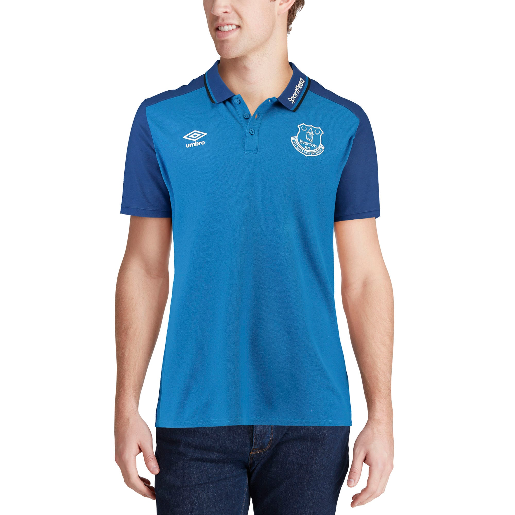 Cotton//Poly Training Polo Shirt Umbro Mens Premier League Everton F.C Skydiver Blue//Sodalite Blue