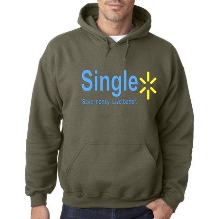 Military Single - Trendy USA 414 - Adult Hoodie Single Live Better Walmart Parody Sweatshirt 2XL Military Green