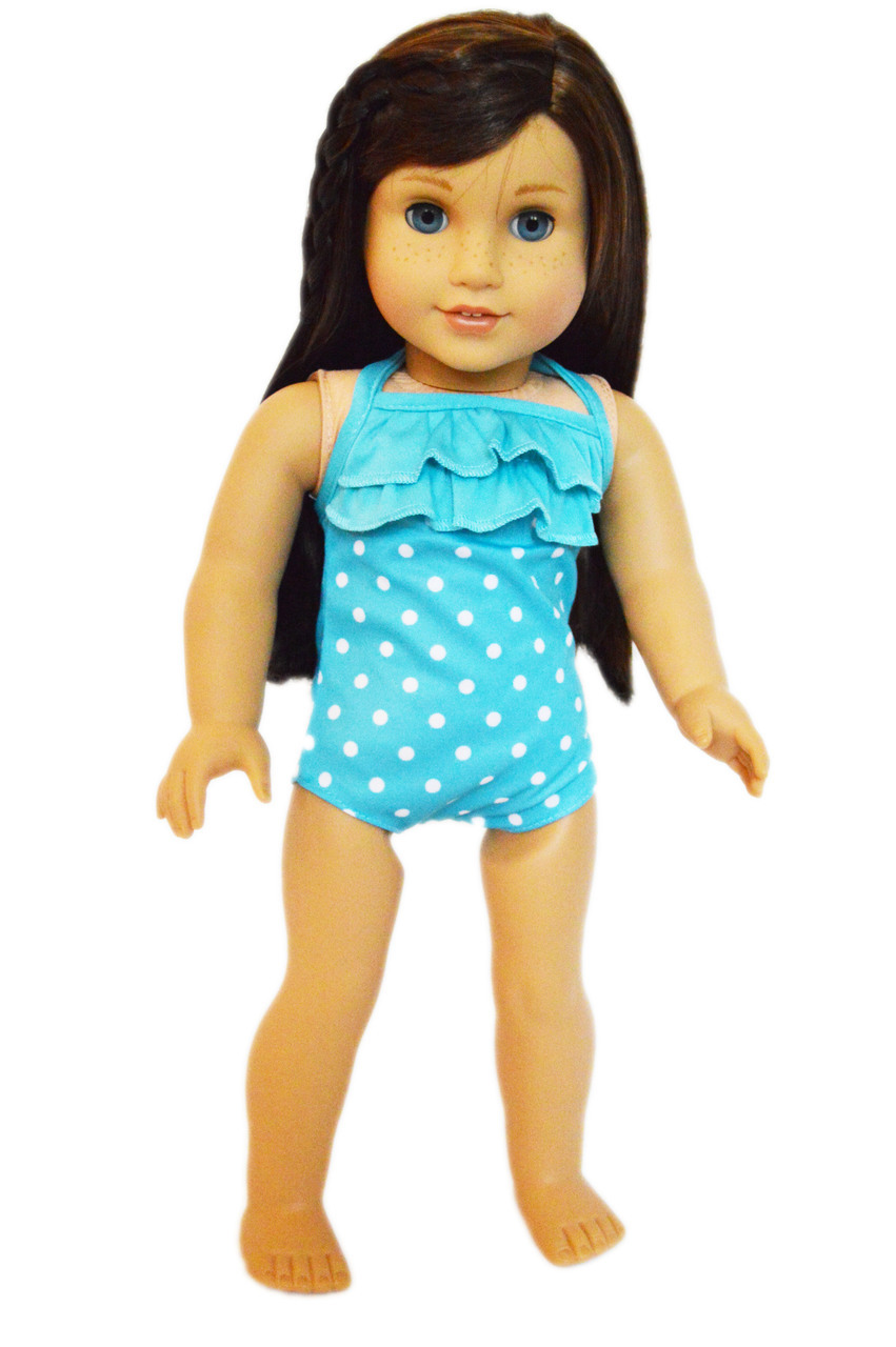My Brittany's Cyan Blue Polka Dot Swimsuit for American Girl Dolls by