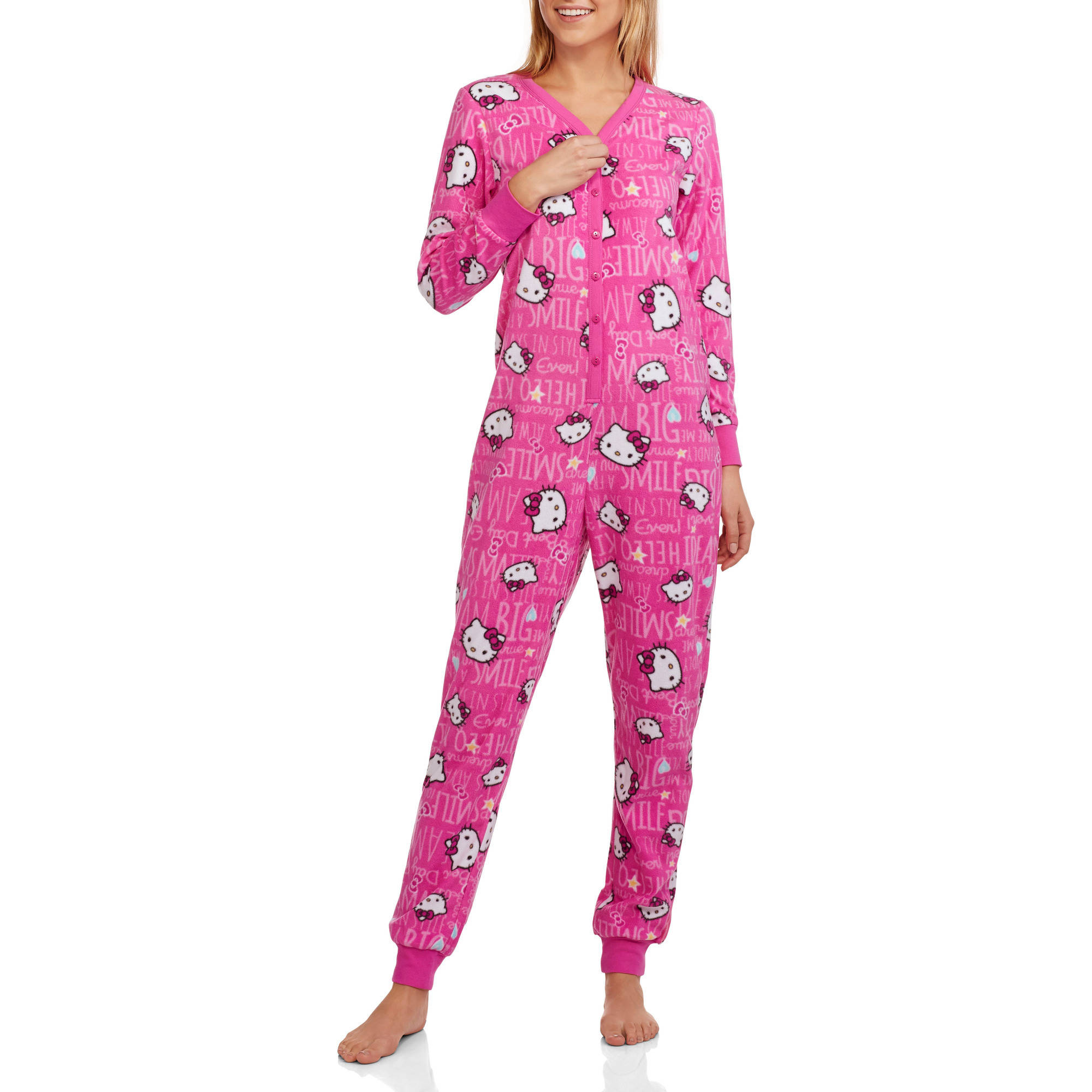 Hello Kitty Women's Licensed Pajama Union Suit Drop Seat One Piece Sleepwear