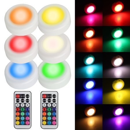 EEEKit Dimmable Puck Light 6-Pack, Wireless Remote Control Color Changing Multi-color Under Counter Light for Cabinet Wardrobe Kitchen Closet (Under Counter Lights Kitchen)
