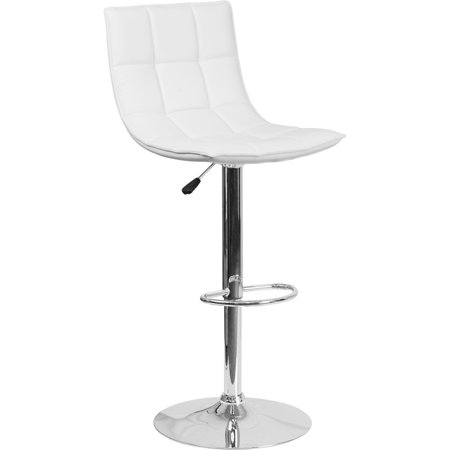 Contemporary White Vinyl (Flash Furniture Contemporary White Quilted Vinyl Adjustable Height Barstool with Chrome Base [CH-92026-1-WH-GG] Set Of)