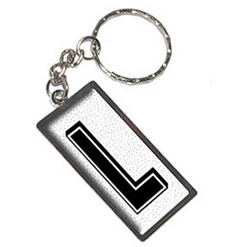Letter L Initial Sprinkles Black White Keychain Key Chain Ring