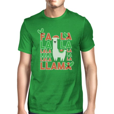 Falala Llama Mens Green Round Neck Funny Christmas July Tee Tee ()