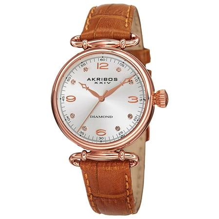 - Women's Quartz Diamond Leather Brown Strap Watch with FREE Bangle