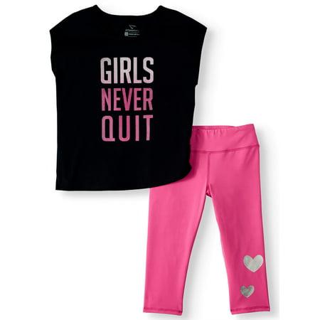 Cheetah Girls Never Quit Top and Capri Legging, 2-Piece Active Set (Little Girls & Big
