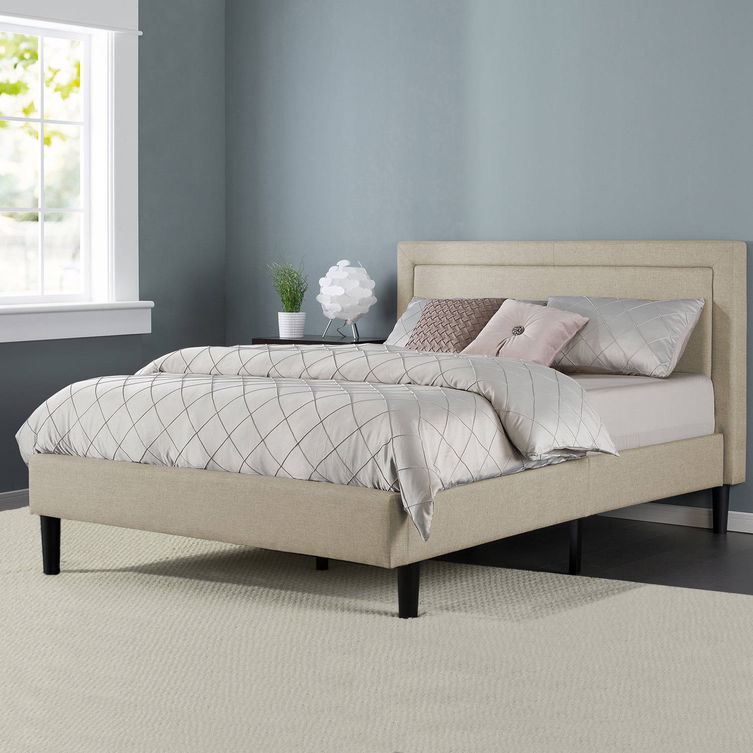 Zinus mckenzie upholstered detailed platform bed with wooden slats multiple sizes walmart com