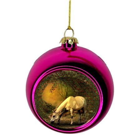 Christmas Horse Decorations.Horse Ornaments Christmas White Horse Grazing In A Berry Field Bauble Christmas Ornaments Pink Bauble Tree Decoration