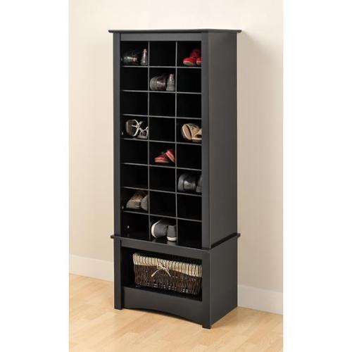 Prepac Broadway Black Tall Shoe Cubbie Cabinet
