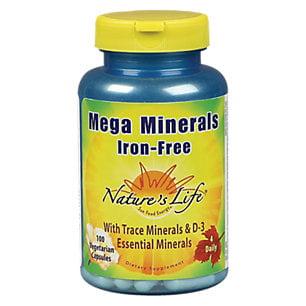 Natures Life - Mega Minerals sans fer, Veg Cap (Btl-plastique) 100CT