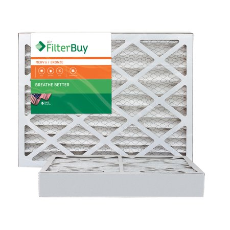 AFB Bronze MERV 6 16x25x4 Pleated AC Furnace Air Filter. Pack of 2 Filters. 100% produced in the USA.