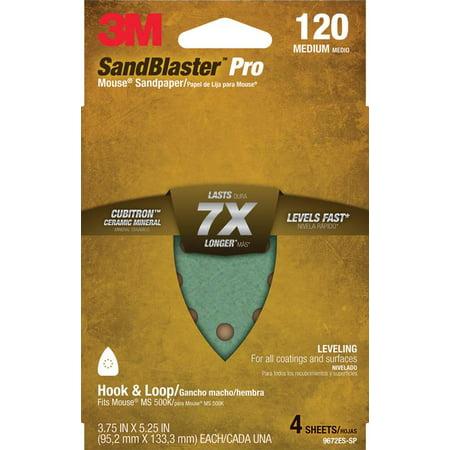 3M SandBlaster Mouse/Corner Cat Sandpaper Sheets, 120 grit, 4/pack