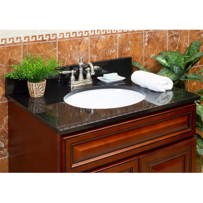 LessCare LGA25228 25 inch x 22 inch Vanity Granite Top with 8 inch Faucet Spread - Absolute Black