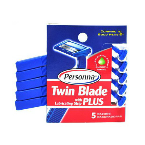 Personna Twin Razor Blades With Lubricating Strip For Men - 5 Ea