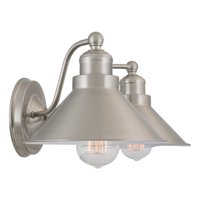 "Revel Welton 19"" Modern Industrial 2-Light Wall Sconce, Brushed Nickel Finish"