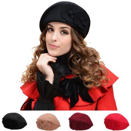 New Designer Look 20s Style Ladies Women Flat Cap Style Wool Winter Flower - 20s Hats