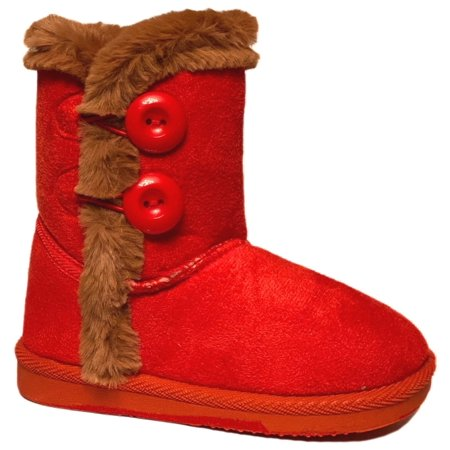 Infant Toddler Girls Winter Casual Button Faux Fur Lining Suede Boots Shoes USA SELLER *Red Warm32F -7