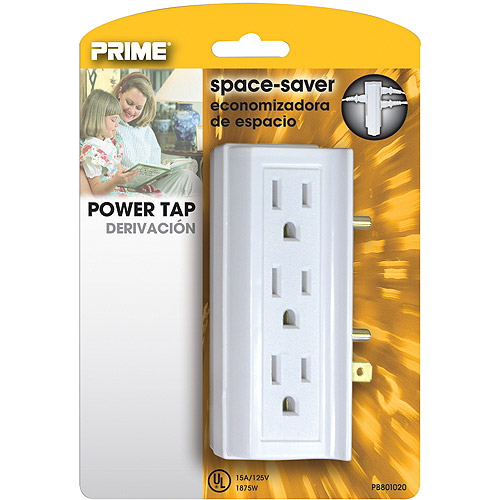 Prime 6 Side-Outlet Space-Saver Power Tap, White