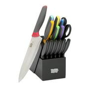 Tasty 15 Piece Stainless Steel Block Knife Cutlery Set, Multicolor