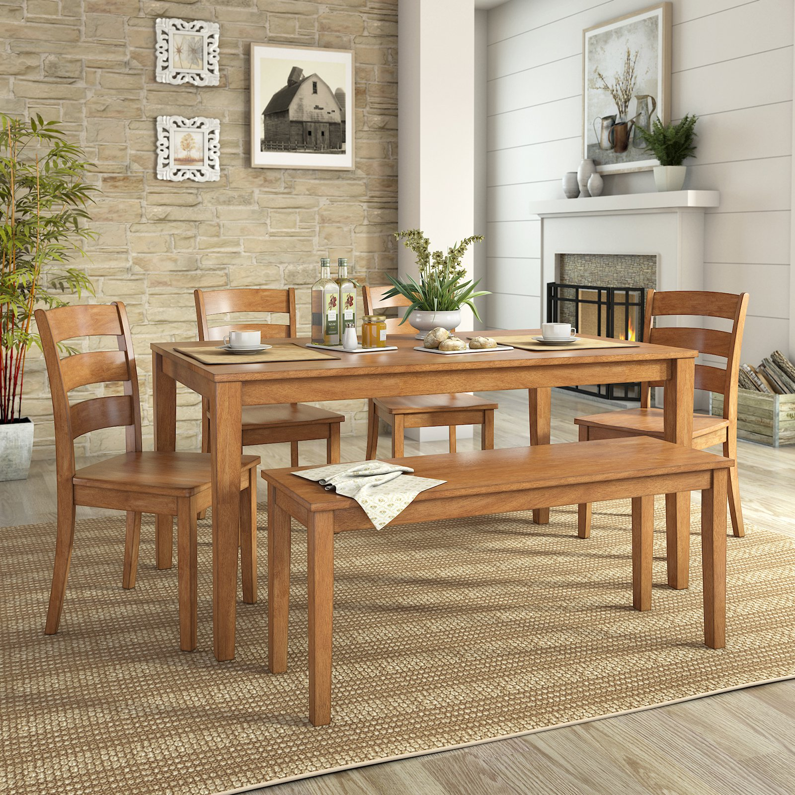 Weston Home Lexington Dining Set with Bench and 4 Ladder Back Chairs