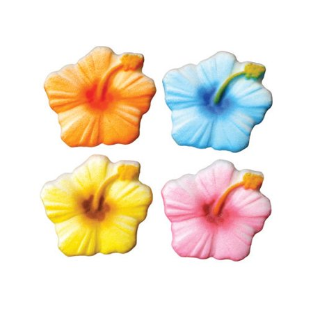 Hibiscus Sugar Decorations Toppers Cupcake Cake Cookies Flower Birthday Favors Party 12 Count