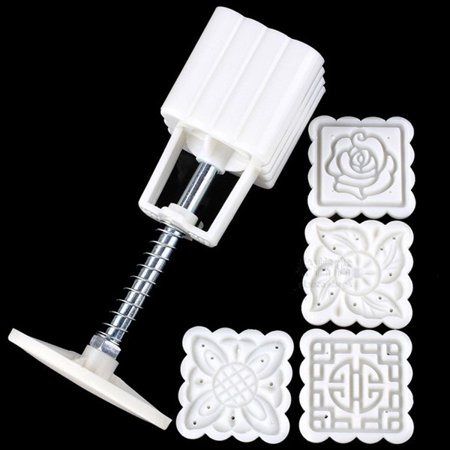 4 Flower Plant Mooncake Fodant Gift DIY Square Moon Cake Mold Stamps Decor Mould SPECIAL TODAY ! ()