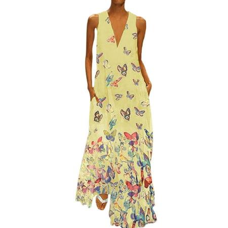 Plus Size Bohemia Dress Women Sleeveless Butterfly Print Summer Beach Holiday Sundress Long Maxi Dress Evening Party