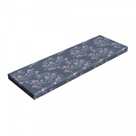 Leaf Bench Pad, Abstract Japanese Plum Blossoms Nature Garden Flora Theme, HR Foam Cushion with Decorative Fabric Cover, 45